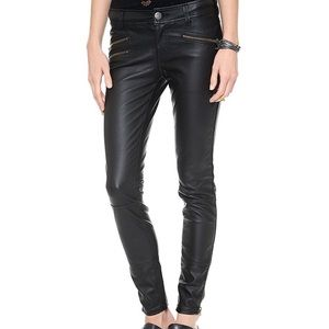 Free People Black Vegan Leather Moto Skinny Pants